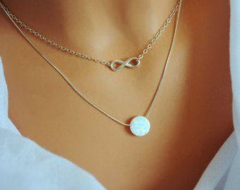 Collana opale. Collana blu di moglie. Opale bianco collana.