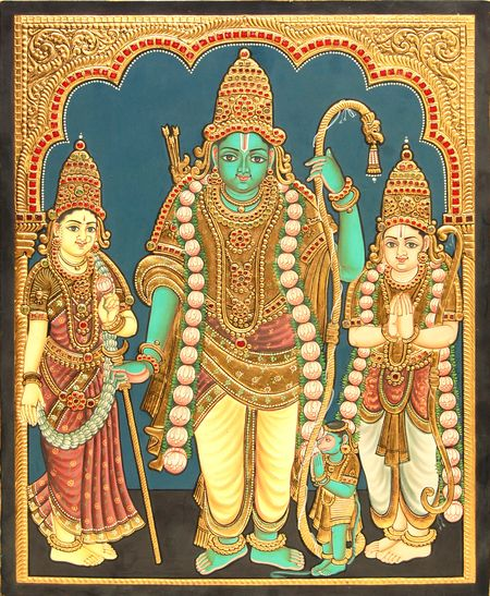 Rama Navami Week.... Antique Kodhanda Rama Tanjore Painting