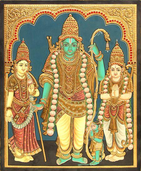Rama Navami Week.... Antique Kodhanda Rama Tanjore Painting