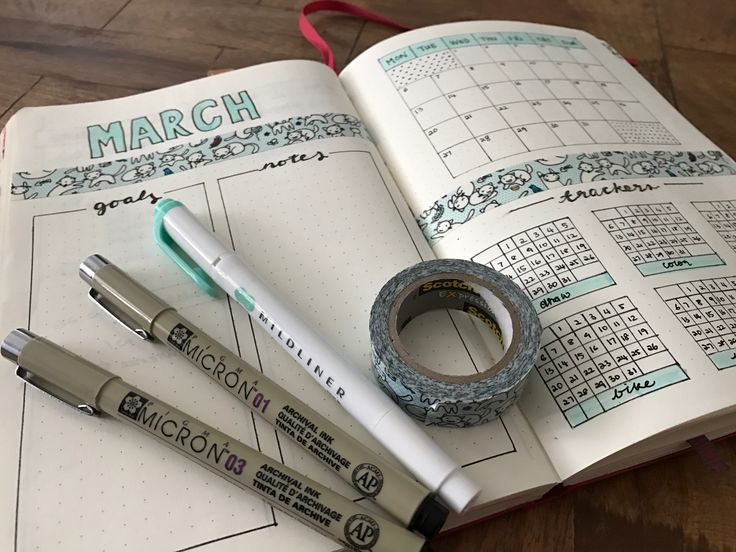 March bullet journal with monthly layout. Mint washi tape for a fresh spring look. #BuJo