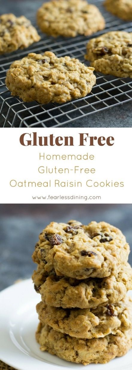 Soft and chewy gluten free oatmeal raisin cookies with an optional Irish cream icing. It is so easy to make gluten free oatmeal cookies, just make sure your oats are certified gluten free. Recipe via www.fearlessdining.com #glutenfree #oatmeal #glutenfreecookies via @fearlessdining