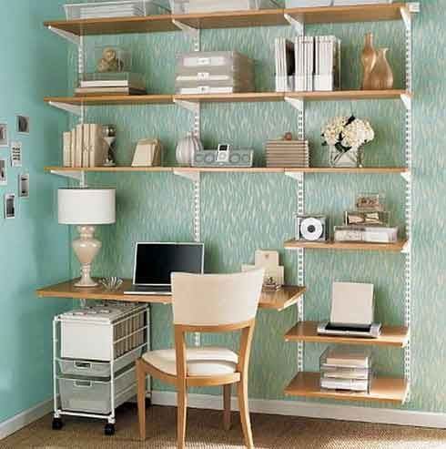 """simple """"all in one"""" office system can be molded very easily to fit your needs as the beech veneer shelves are completely and independently adjustable. A great space saving design goes a long way with wall-mounting shelves and if you combine a shelving unit with a desk."""