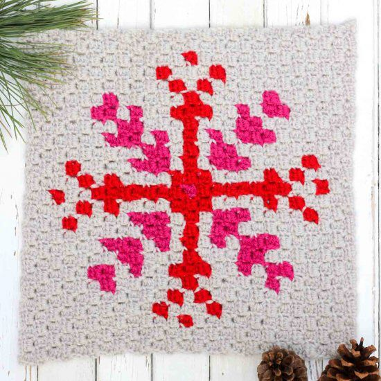 This free c2c pattern is part of a series of modern Christmas afghan blocks. Make them all or just start with a throw pillow!