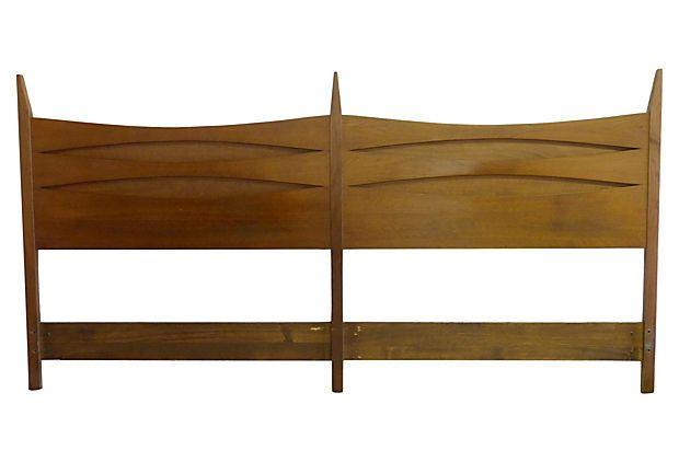 Walnut Midcentury Headboard, King-Size on OneKingsLane.com