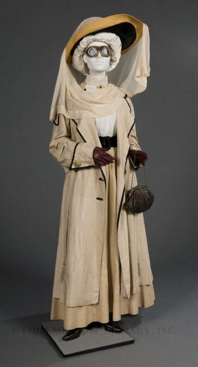 Motoring Ensemble  1910-1915  The FIDM Museum: 19001910 Edwardian, Edwardian Periodic, Duster Coats, Outfit, Fidm Museums, Motors Duster, Steampunk Inspiration, 1910 1915, 1910 15
