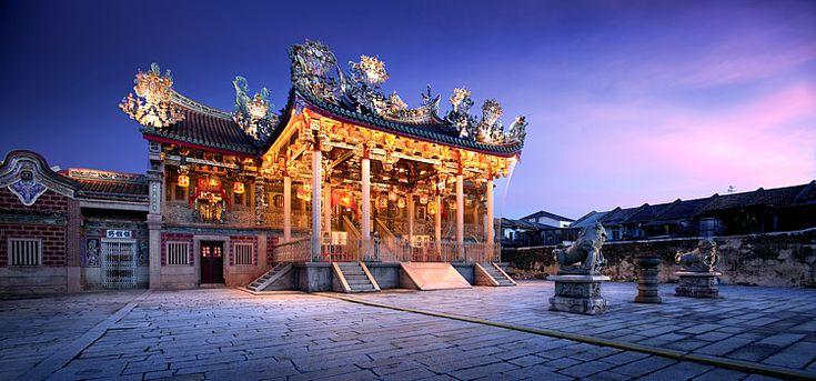 The Khoo Kongsi Clan House at night