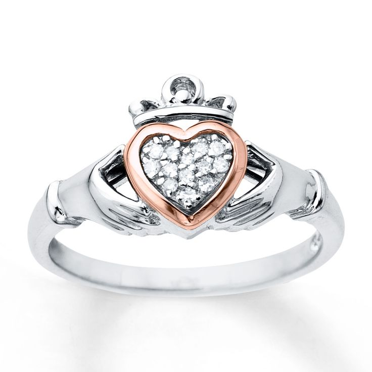 size 10…...Claddagh Ring 1/20 ct tw Diamonds Sterling Silver/10K Gold
