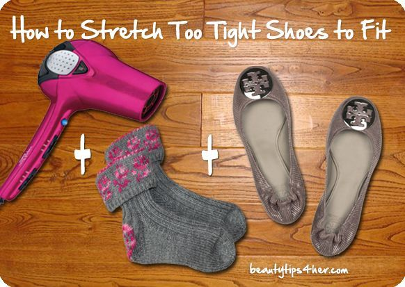 How To Stretch And Adjust Too Tight Shoes To Fix..Learn how to stretch tight shoes using a very simple method that works like a charm using hairdryer and thick stockings..