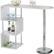 Breakfast Bar Table Kitchen Dining Modern Stylish Cafe White Party Storage Shelf