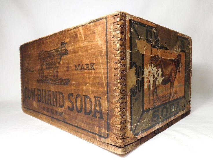 DWIGHT'S COW BRAND SODA ANTIQUE WOODEN BOX CRATE W/LABEL, CHURCH & DWIGHT CO NY  #RusticPrimitive #ChurchandDwightCoNewYork