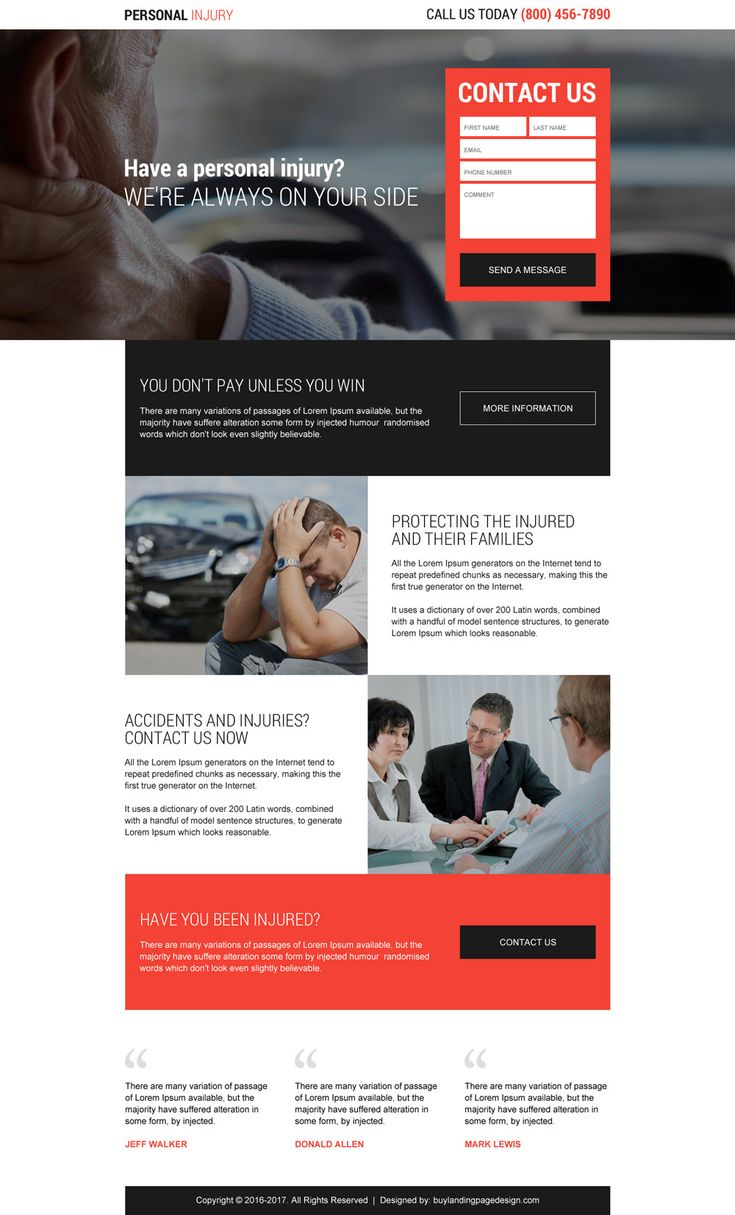 professional personal injury lead generating responsive landing page