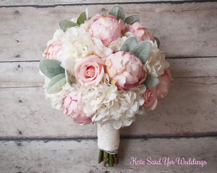 Silk Bouquet - Peony Rose and Hydrangea Ivory and Blush Wedding Bouquet with Lace Wrap and Lambs Ear
