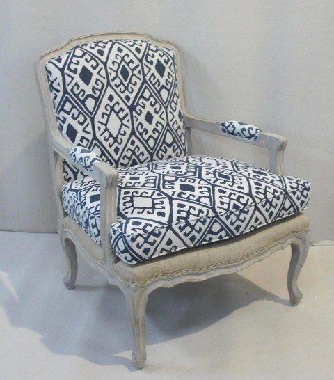 Chair Romy Bleu print et Jute at Villa Maison