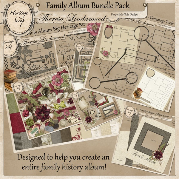 Family Album Bundle Pack  $8.24 (25% off) Includes Family Album Big Heritage Kit, Shutterfly Ready Cover Set, and the Family Album Genealogy Tool Kit.