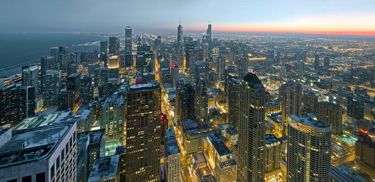 Chicago at night from John Hancock centre