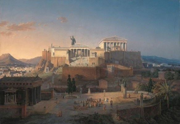 Reconstruction of the Acropolis and Areus Pagus in Athens (1846). I would love to live in place like this!