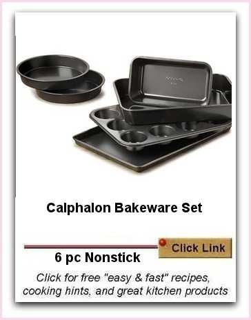 6 pc Calphalon Bakeware Set | Ideal For Novice Cooks.  This is a terrific starter set. it is non-stick and of thick durable steel so that it does not warp in the oven.