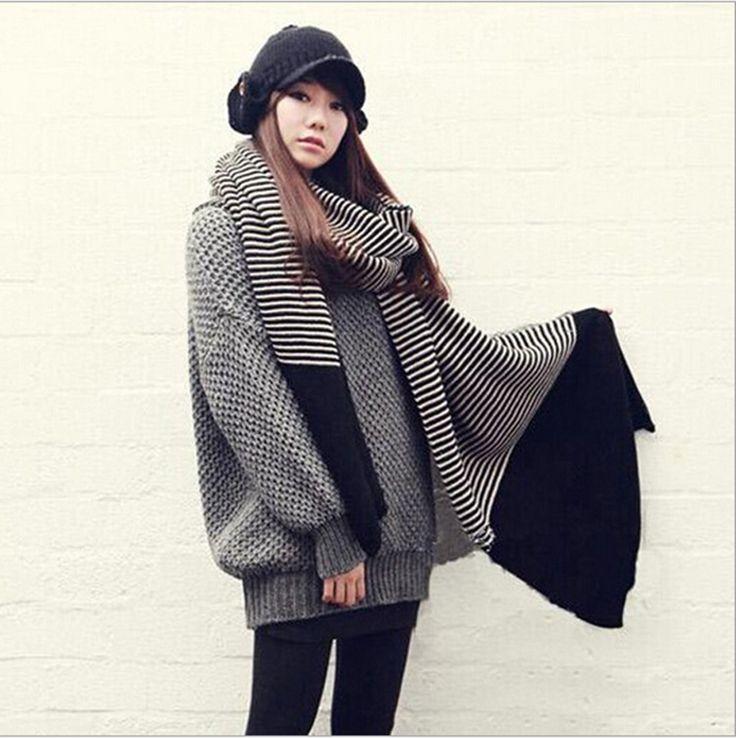 groothandel- 2014 winter gloednieuwe vrouwen gestreepte sjaal zwarte wollen kintted sjaals wrap sjaal poncho freeshipping(China (Mainland))