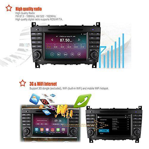 PolarLander Android 4.4 Car Radio Audio DVD Player Headunit GPS 2G RAM Built in 16GB for Mercedes Benz C Class W203 2004 – 2007 c200 C230 C240 C320 C350 CLK W209 2005
