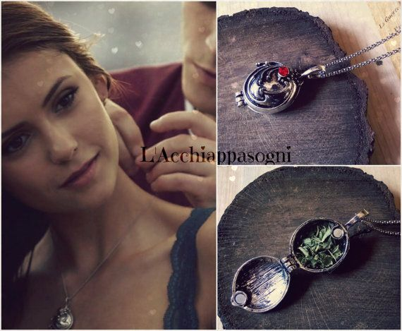 The Vampire Diaries - Elena Gilbert collana ispirata - VERA VERBENA - placcato argento - stagioni 1 2 3