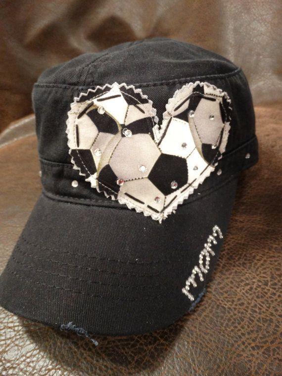 Soccer Mom LOVE Crystal Distressed Cadet Cap by BlingirlSpirit