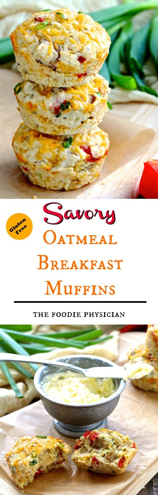 Savory Oatmeal Breakfast Muffins. Enjoy all of the flavors of a leisurely Sunday brunch baked into a gluten free muffin! | @foodiephysician