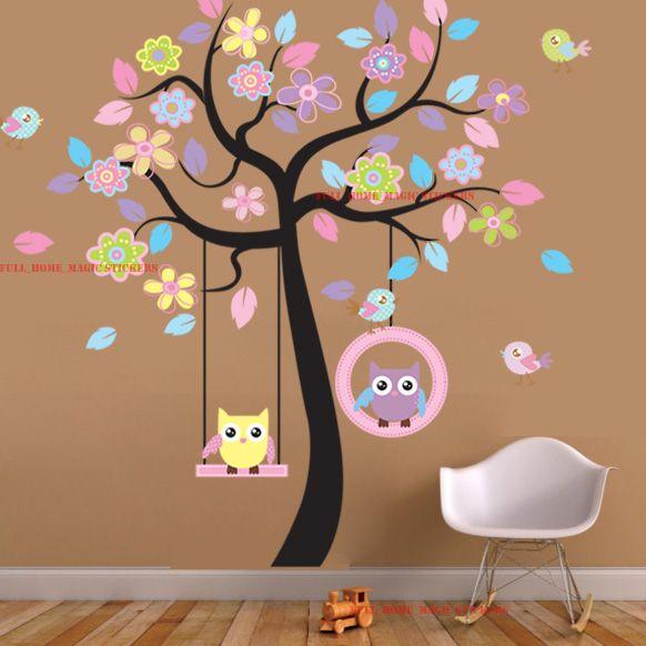 Gigante Colorato Gufi Swing Fiore Tree Adesivi Da Parete Bambino ...