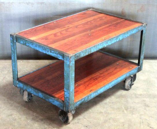 Vintage Factory Cart W/reclaimed Wood, Via Jennifer Price Studio