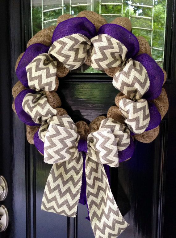 Chevron Burlap Wreath 20-22 inch for front door or accent - Purple, White, Gray, and Natural www.etsy.com/simplyblessedgift