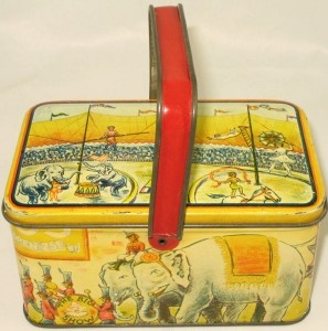 antique big show circus lunch biscuit tin 1930