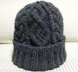 【棒針】アラン風縄編み帽子。knit hat free pattern