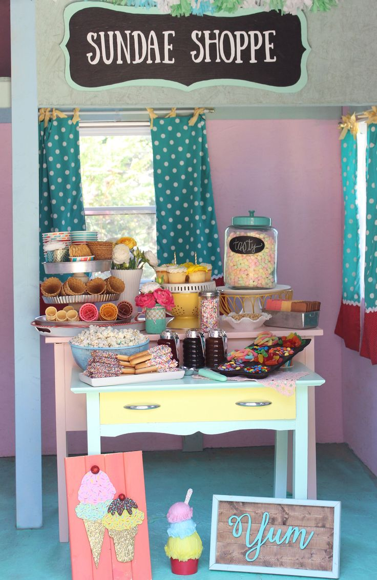 Sweet summer ice cream shoppe birthday party. This fun playhouse is the perfect setting!