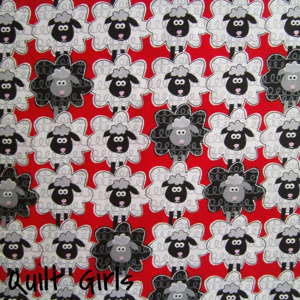 New. Sheep to Sheep Fabric to sew. This print has black and white sheep lined up on a red background. This is a playful and wonderfully animated print. Fabric is part of Green Farms by Greta Lynn for