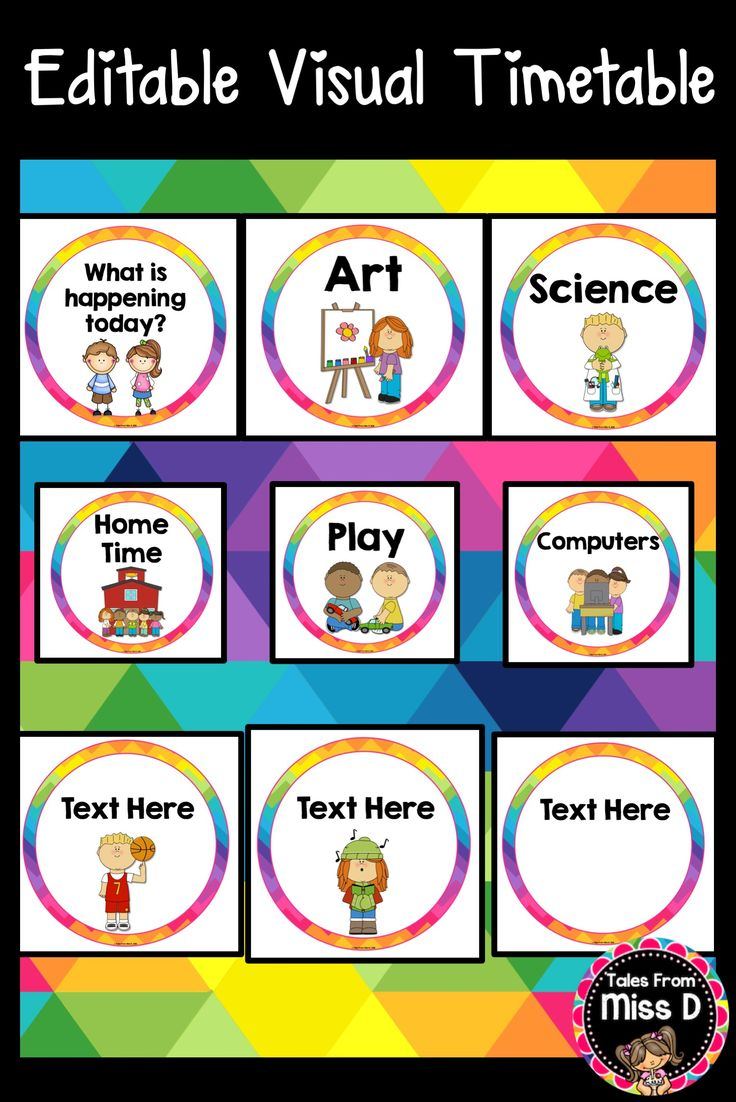 Display your daily schedule with this Editable Visual Timetable. This resource includes a title card, 34 subject cards and 34 editable for you to type or write your own. © Tales From Miss D
