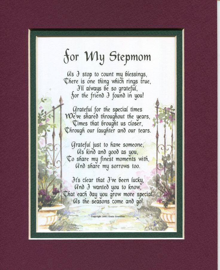 Gifts for stepmom Gifts for stepmothers Mothers Day gifts for step mother Christmas gifts for stepmom Stepmom Poems stepmother Poems