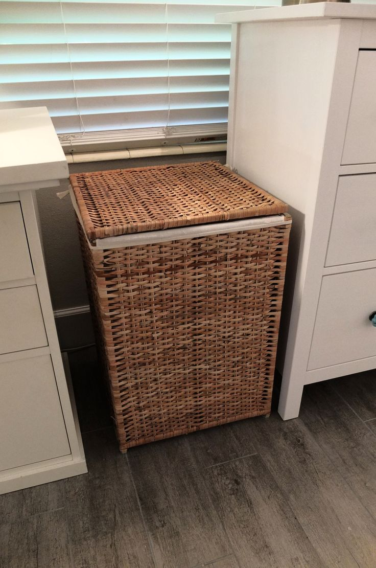 BRANS Laundry basket with lining, rattan