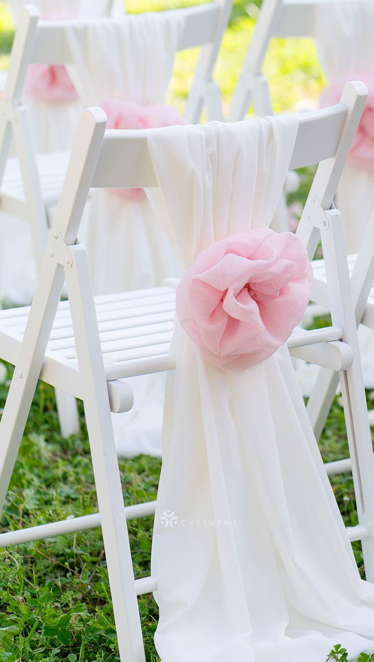 5pcs Pack Of Chiffon Chair Sashes Ties White Wedding Chair