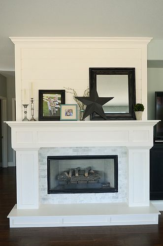 Adore the big white molding and gray tiles