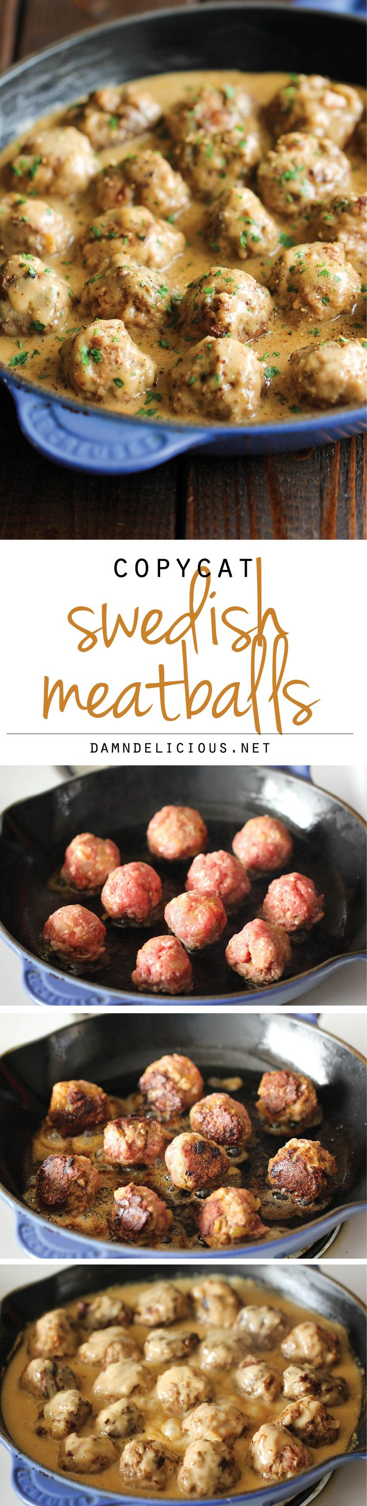 Swedish Meatballs - Nothing beats homemade meatballs smothered in a creamy gravy sauce, and they taste much better than the IKEA version! @damndelicious