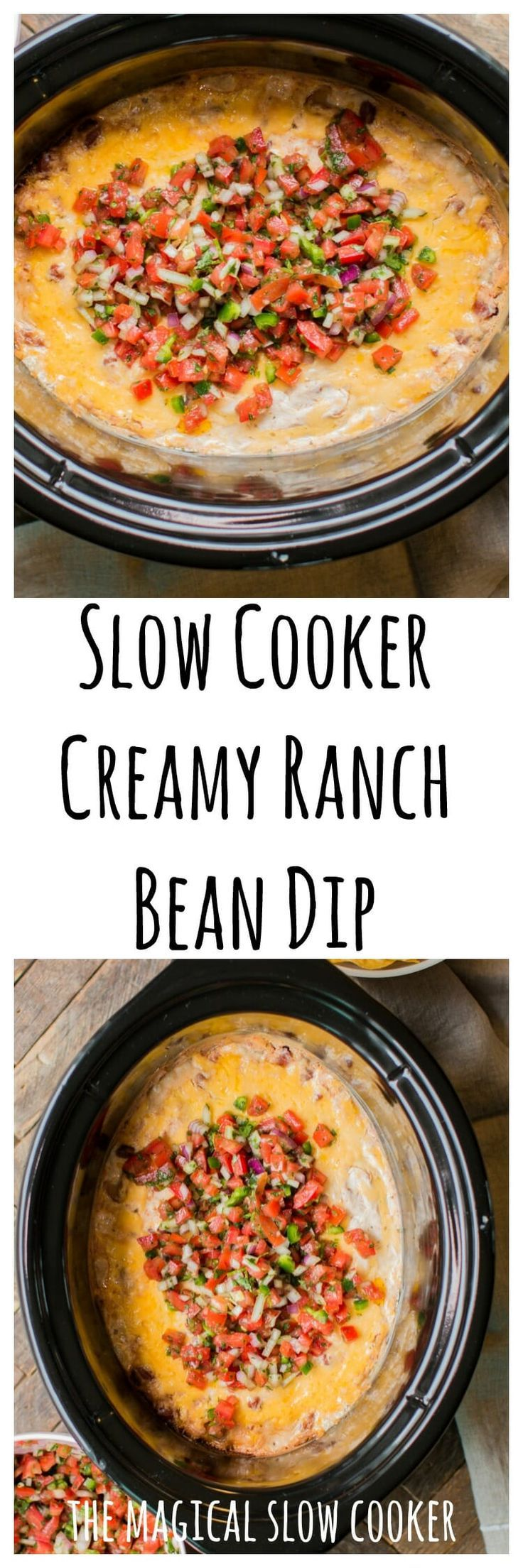 Slow Cooker Creamy Ranch Bean Dip #gameday #beandip #crockpot