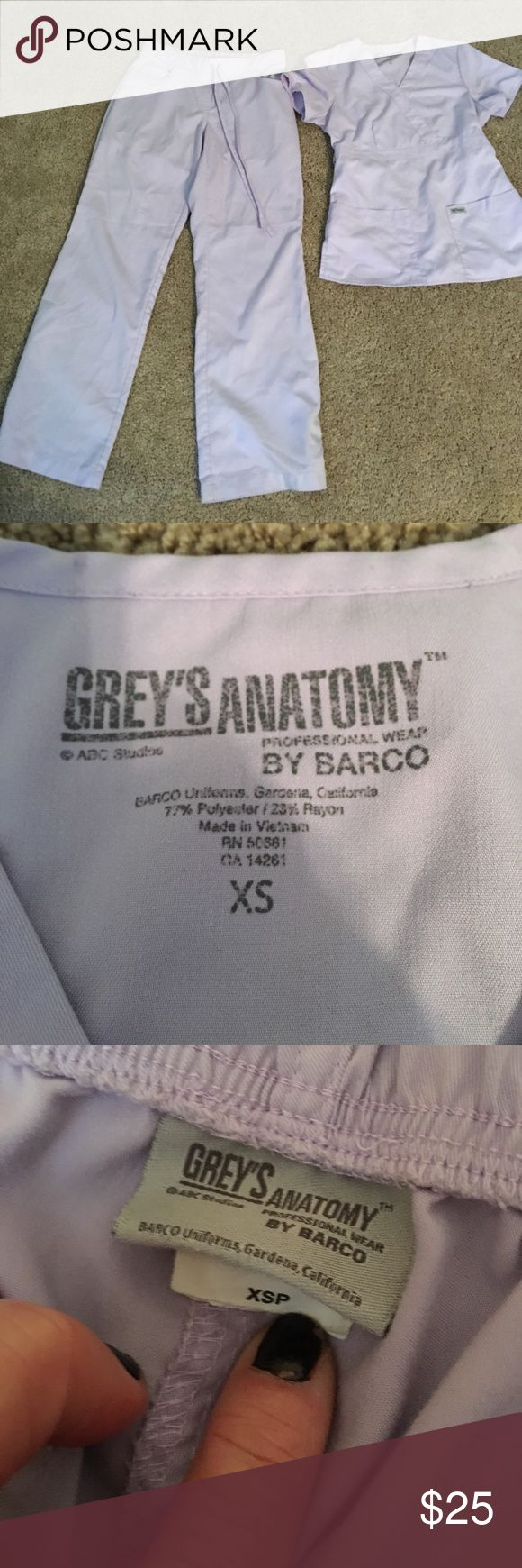Grey's Anatomy size extra small petite scrub set Purple Grey's Anatomy size extra small top and extra small petite pants scrub set see all of our other scrubs would like to bundle and save you money grey's Anatomy Pants