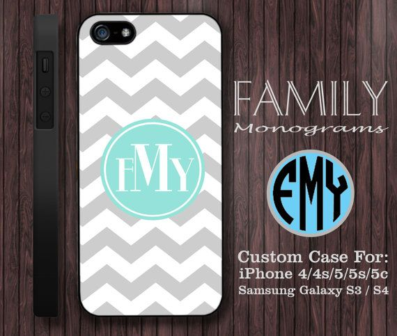 grey and blue chevron monogram hard plastic case by familymonogram, $15.99