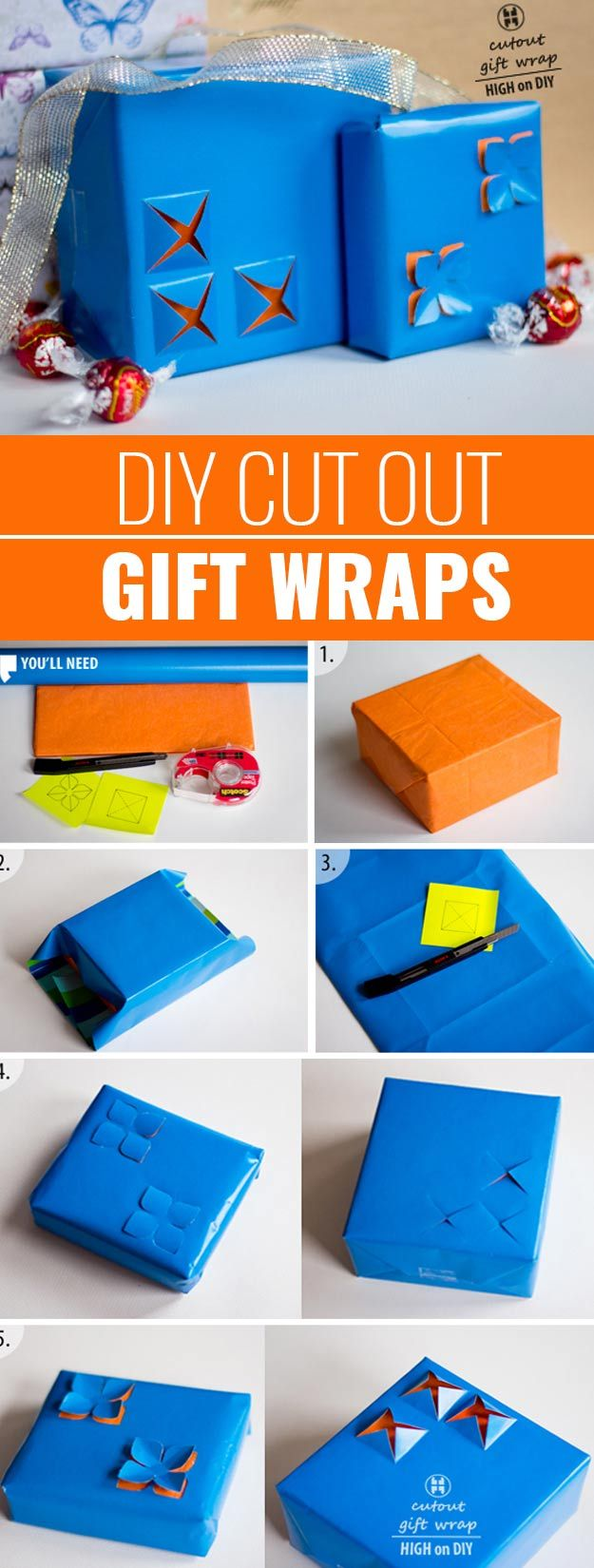 DIY Gift Wrapping Ideas - How To Wrap A Present - Tutorials, Cool Ideas and Instructions | Cute Gift Wrap Ideas for Christmas, Birthdays and Holidays | Tips for Bows and Creative Wrapping Papers |  Cut-Out-Gift-Wraps  |  http://diyjoy.com/how-to-wrap-a-gift-wrapping-ideas