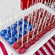 Patriotic Cake Pops.  Whether you're hosting a 4th of July get-together and serving up burgers and hotdogs or a playful patriotic clambake party, these spectacular treats are guaranteed to make it a sweet celebration.