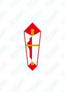 伝統的な紅白デザインの片折り熨斗