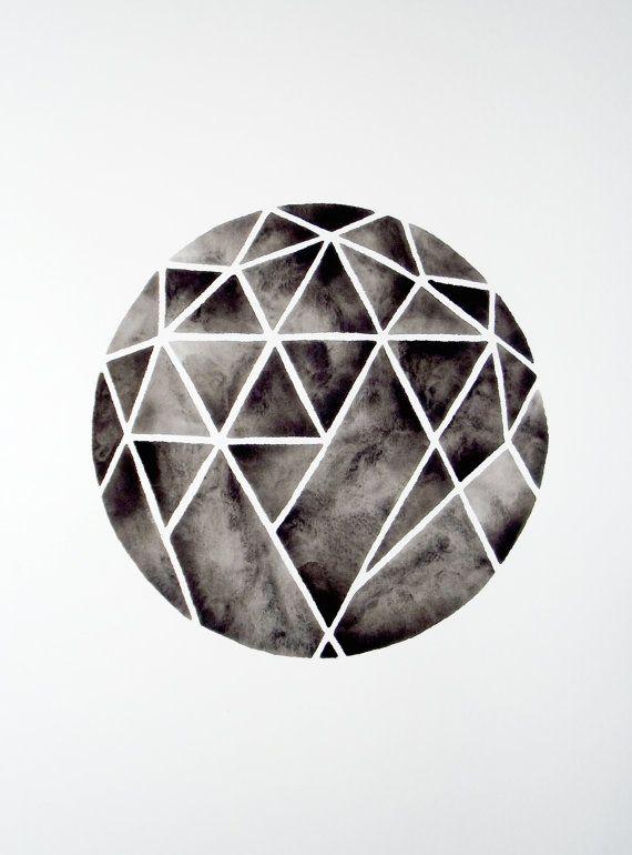 Cutting Diamonds - Original Watercolour by Geometric Ink