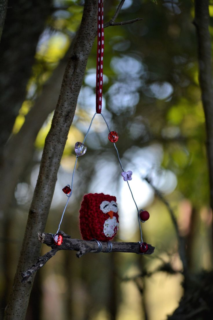 Owl on a Twig, Baby Owl, Red Owl, Knitted Owl, Sleepy Owl, Red, Floral, Buttons, Beads, Red by HeartmadeSouthAfrica on Etsy