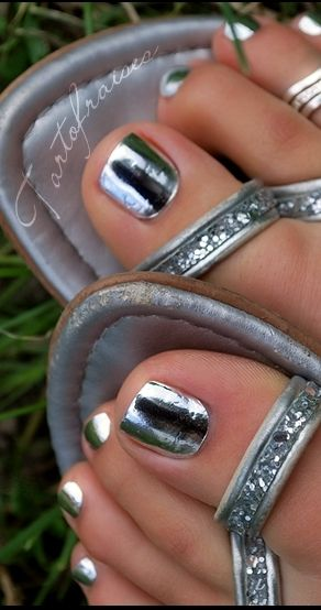 Mirrored pedicure {Blixz Sexy Silver nail foils}