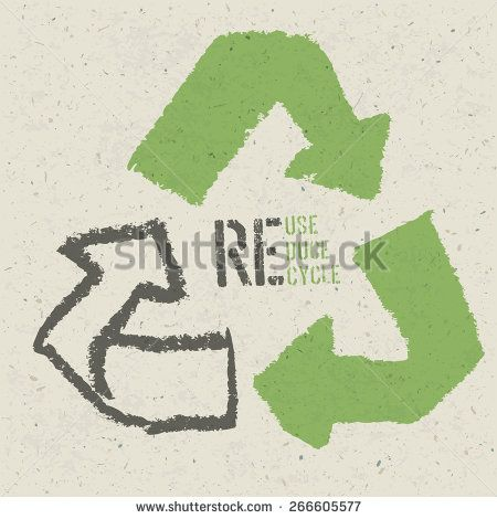 """Reuse conceptual symbol and """"Reuse, Reduce, Recycle"""" text on Recycled Paper Texture - stock vector"""