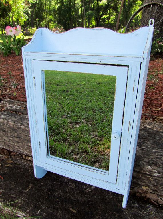 Light Blue Vintage Medicine Cabinet Bathroom Cupboard With Mirror Shabby Chic Home Decor On Etsy Sold